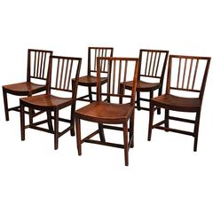 18th Century Set of Six East Anglian Fruitwood Chairs