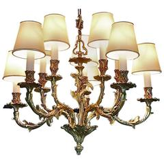 Large Gilt Bronze 10-Light Chandelier, Floral French Baroque Rococo Bagues Style