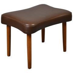 Mid-Century Retro Danish Brown Leather Footstool / Ottoman, 1960s-1970s