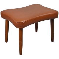 Mid-Century Retro Danish Tan Leather Footstool/Ottoman, 1960s-1970s