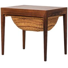 Severin Hansen Side or Sewing Table by Haslev Møbelsnedkeri in Denmark