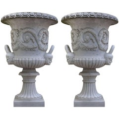 Pair of Monumental White Marble Medici Model Vases