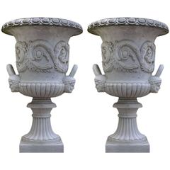 Pair of Monumental White Marble Medici Model Vases