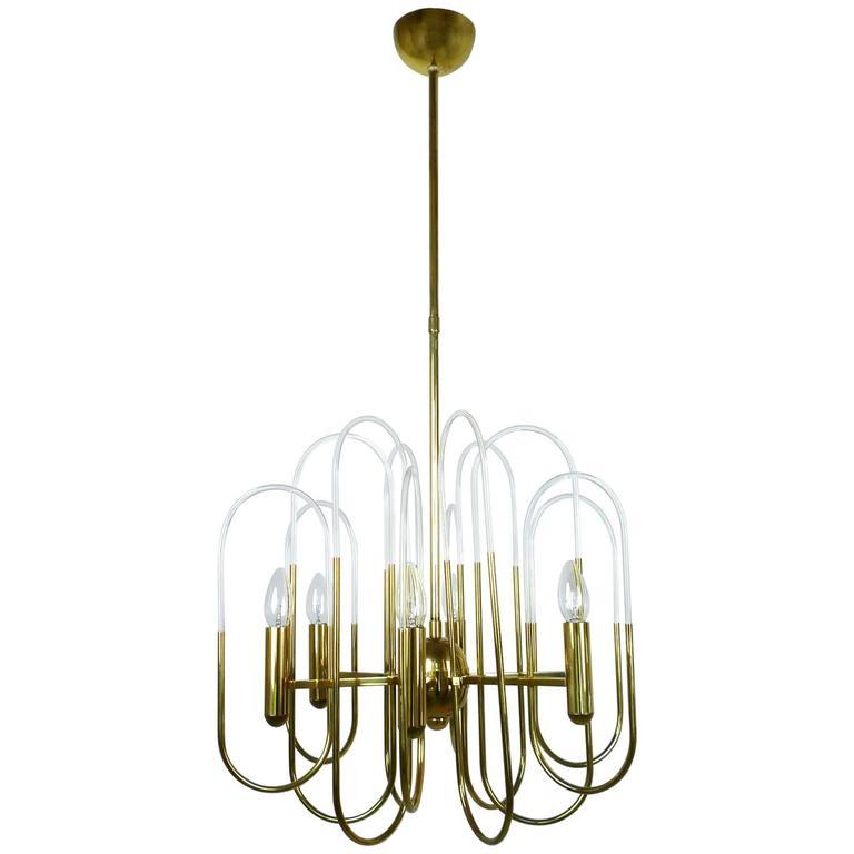 Brass Chandelier by Gaetano Sciolari for Sciolari Lighting, Italy, 1960s