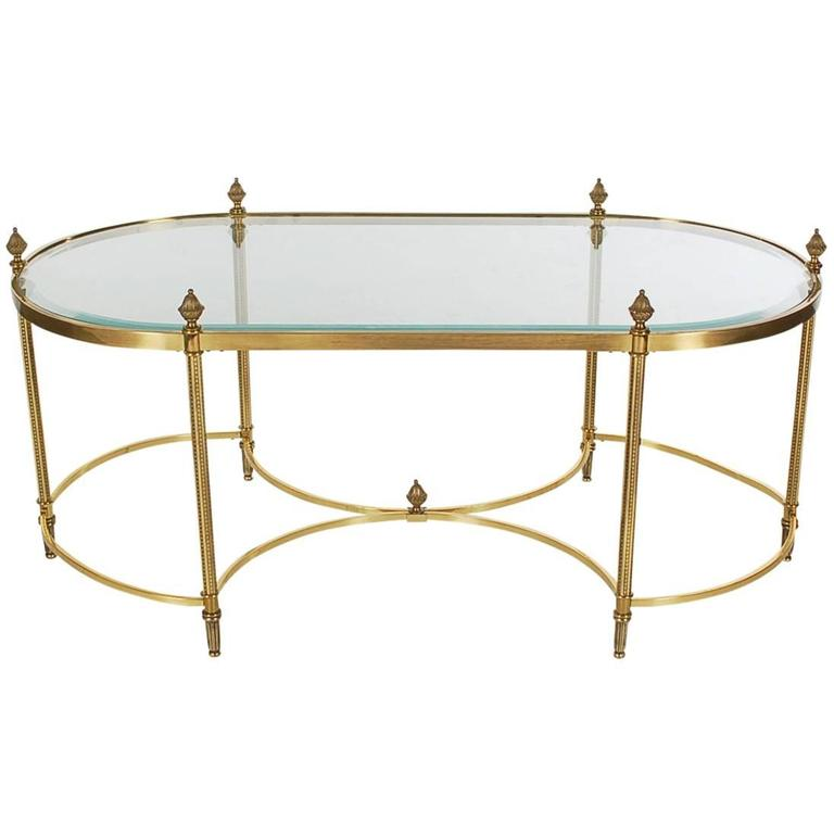 Superb Hollywood Regency French Style Brass Glass Cocktail Table After Maison  Jansen For Sale