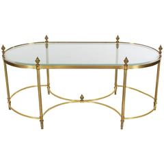 Hollywood Regency French Style Brass Glass Cocktail Table after Maison Jansen