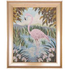 Vintage Framed Needlepoint of a Flamingo, circa 1960