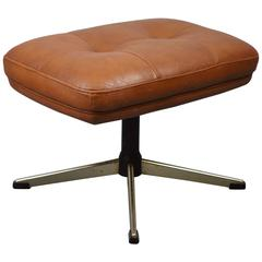 Mid-Century Retro Danish Tan Leather Buttoned Chrome Footstool or Ottoman, 1960s
