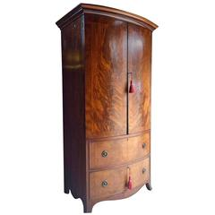 Antique Regency Style Wardrobe Flame Fronted Mahogany Bow Fronted