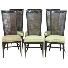 Six Harvey Probber Ebonized Caned Back Dining Chairs