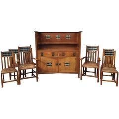 George Montague Ellwood Arts & Crafts Oak Sideboard & 8 Matching Dining Chairs