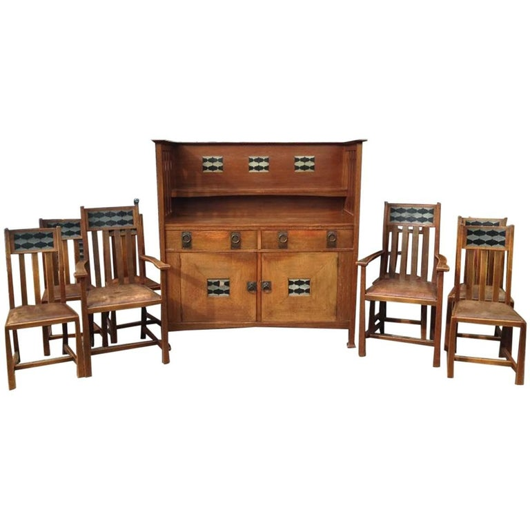George Montague Ellwood Arts & Crafts Oak Sideboard & 8 Matching Dining Chairs For Sale