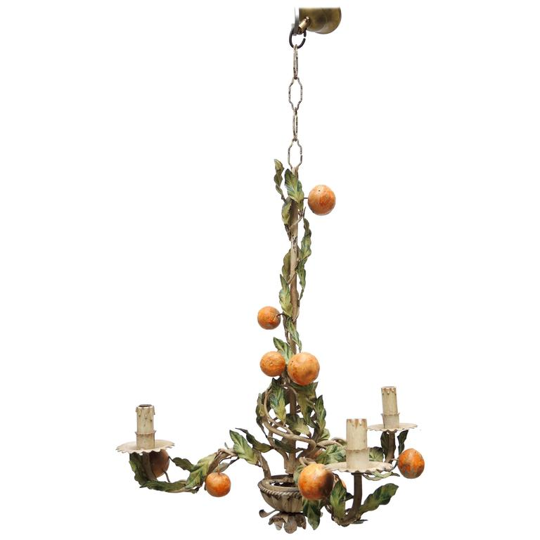 1940s Italian Tole and Iron Chandelier with Oranges and Leaves