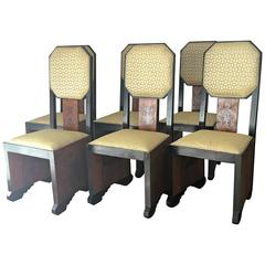 Mid-Century Dinning Chairs Reupholstered in Burl Wood and Walnut