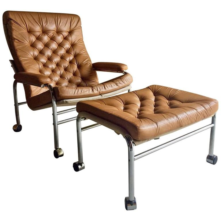 Mid Century Bruno Mathsson Style Leather Armchair And Footstool 1970s  Original For Sale