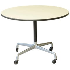 Eames Aluminum Group Round Side Table on Casters for Herman Miller