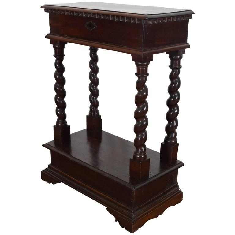 Italian Baroque Style Walnut Tall Console, 19th Century 1