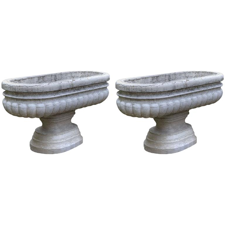 "Large Pair of Antique Carved ""Istria"" Stone Vases"