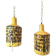 Pair of Mid-Century 1960's Ceramic Swag Pendant Lights