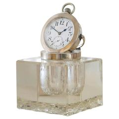 Glass and Silver-Mounted Inkwell with Clock