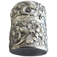 Tiffany & Co. Sterling Silver Floral Decorated Thread Bobbin Holder