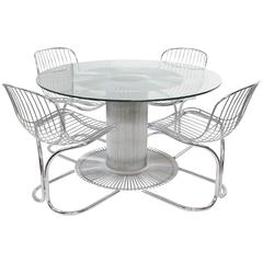 Bertoia Style Chrome and Glass Dining Set with Four-Chairs