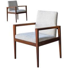 Jens Risom Pair of Mid-Century Walnut Chairs