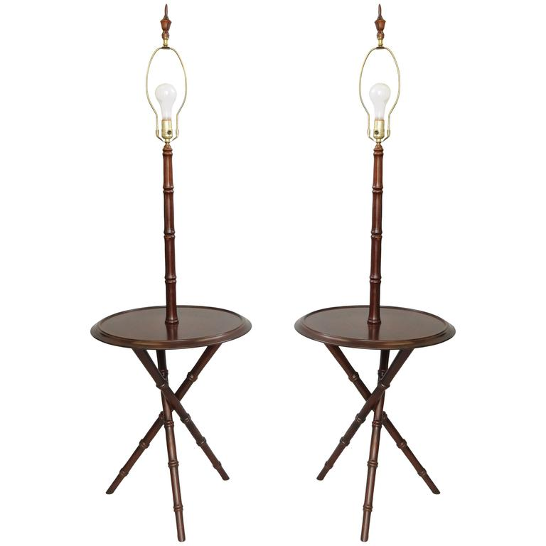 Pair of Chinese Chippendale Faux Bamboo Wood Tripod Floor Lamp Round End Tables
