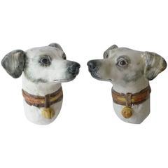 Rare Pair of Majolica Walls Pockets Hound Dogs Delphin Massier, circa 1890