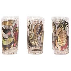 Mid-Century Tropical Fruit Glasses, Set of Six