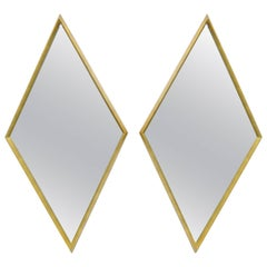 Pair of Diamond Shaped Deep Wood Frame Gold Leaf Wall Mirrors Attrib. to Labarge
