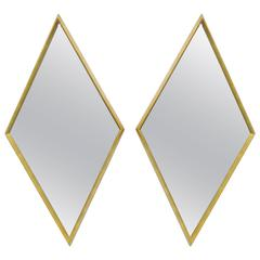 Pair of Diamond Shaped Deep Wood Frame Gold Leaf Wall Mirrors Attributed Labarge