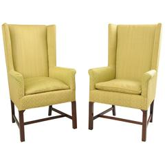 Pair of Mid-Century Modern Mahogany Wingback Lounge Chairs after Edward Wormley