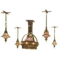 Set of Five Hanging Lamps, Dutch Art Nouveau, Bronzed Copper, circa 1909