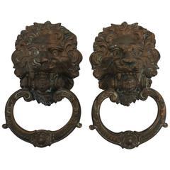 Vintage Pair of Neoclassical Lion Head Bronze Hardware Door Knockers