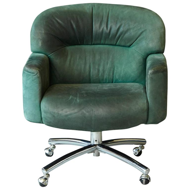 Office Chair Companies: Green Suede Leather Swiveling Office Chair On Casters By