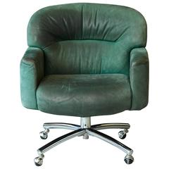 Green Suede Leather Swiveling Office Chair on Casters by Harter, 1970s