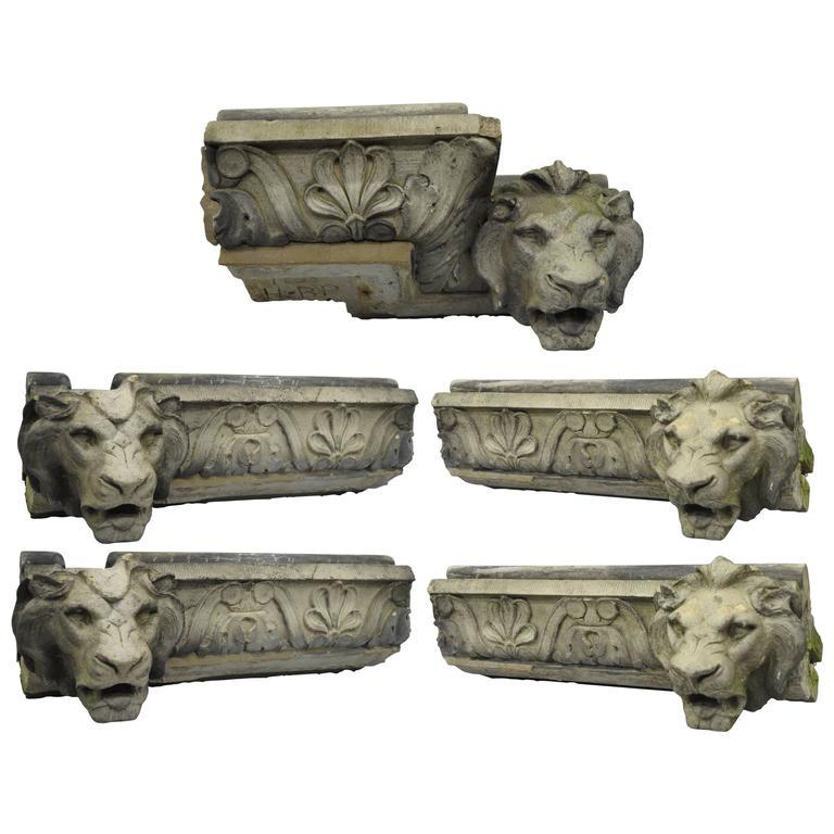 Terracotta Lion Head Regency Style Building Garden Architectural Element