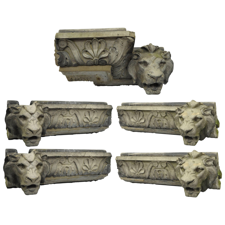 19th C. Terracotta Lion Head Regency Style Building Garden Architectural Element