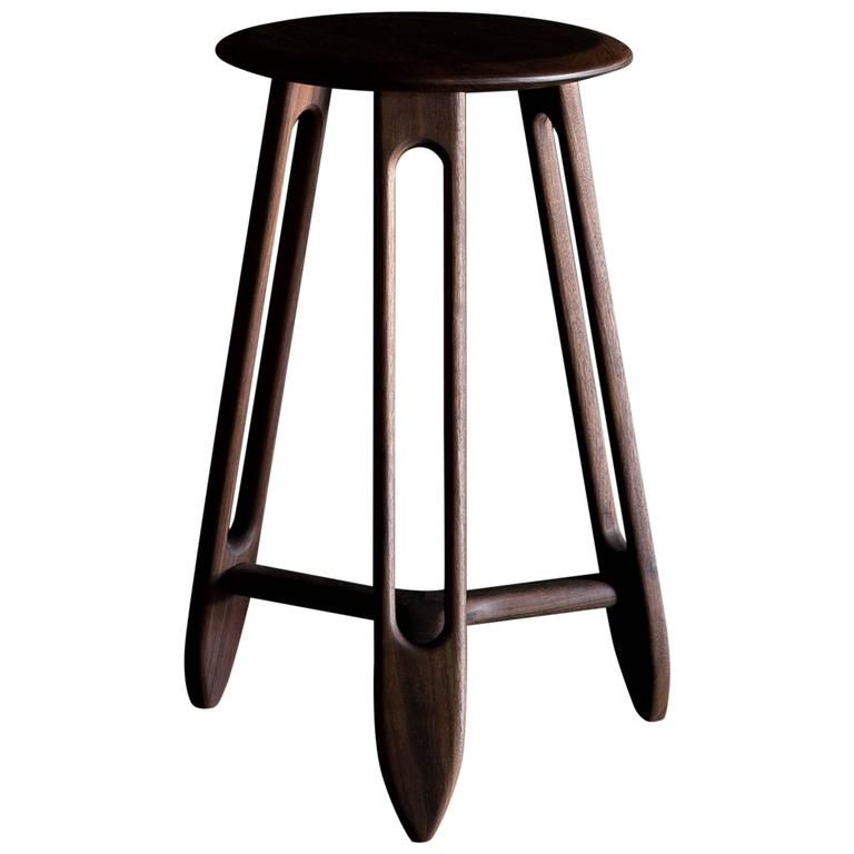 Tibula Large Stool By Materia Designs In Black Walnut With