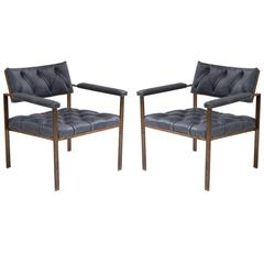 Harvey Probber Bronze and Leather Lounge Chairs
