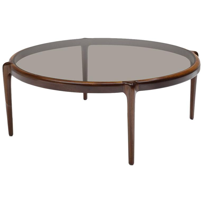 Scandinavian Coffee Table With Smoked Glass For Sale At