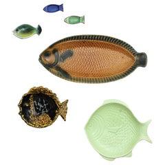 20th Century European  Majolica Ceramic 6 Fish Plates Wall Decoration