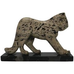 Black and White Marble Tiger Cat Sculpture