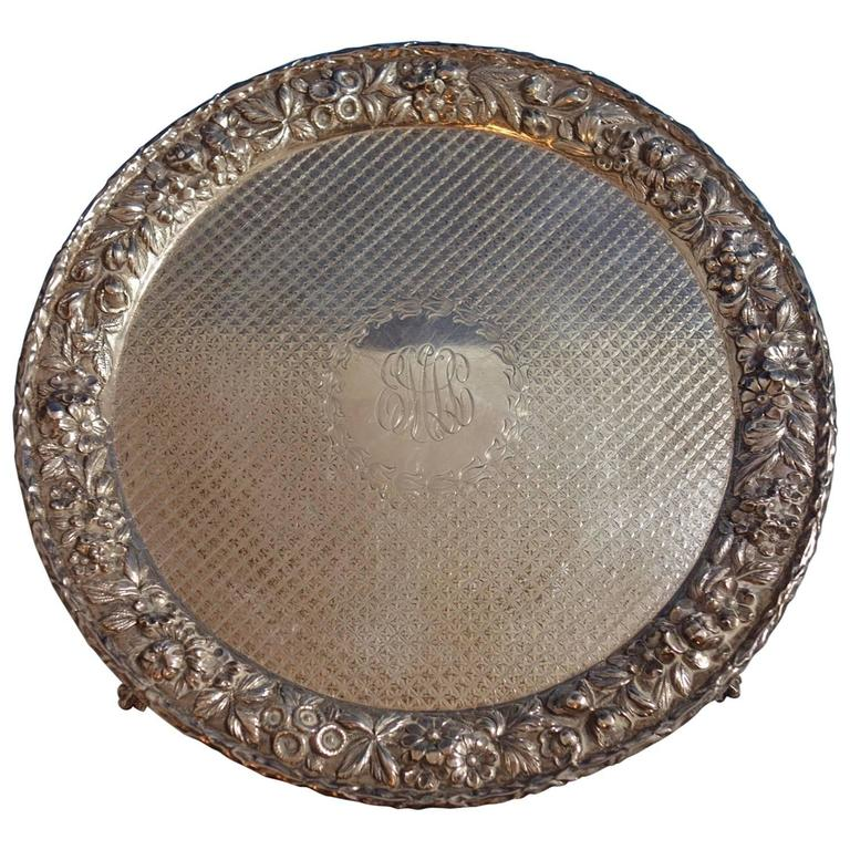 Repousse by Kirk Sterling Silver Salver Tray w Lion Claw Feet #1713, Hollowware