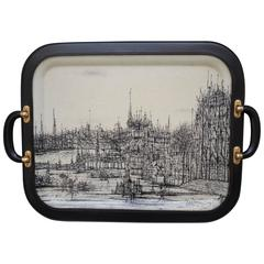 Limited Edition 1960s French Tray with Jean Carzou Image and Jack Adnet Styling