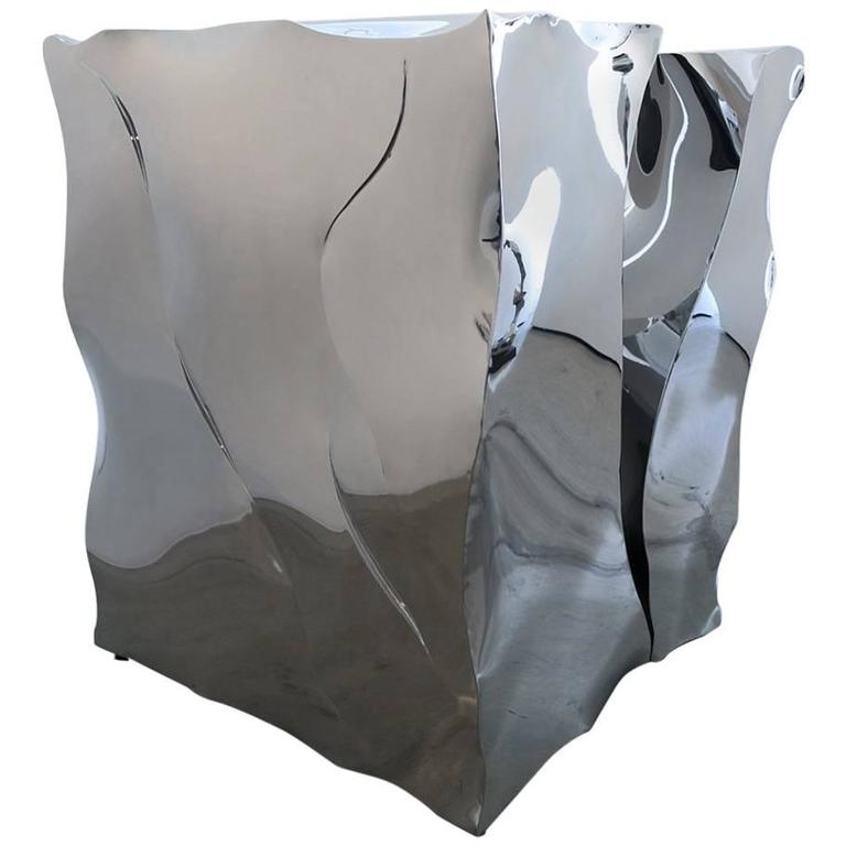 """Large Polished Stainless Steel """"Ice Cube"""" by Jon Krawczyk 2016 For Sale"""