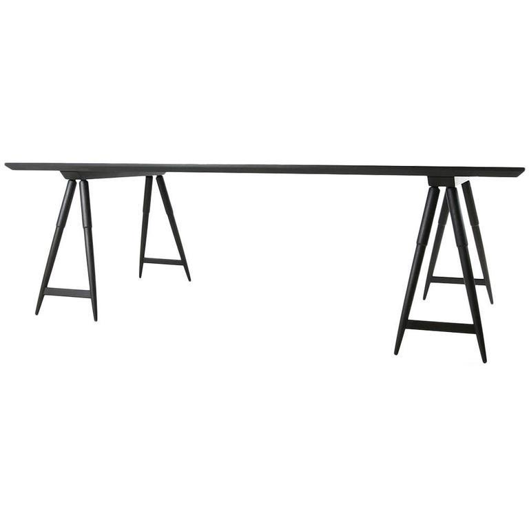 Rockport Sawhorse Table, White Oak with Seasoned Black Finish by Studio Dunn