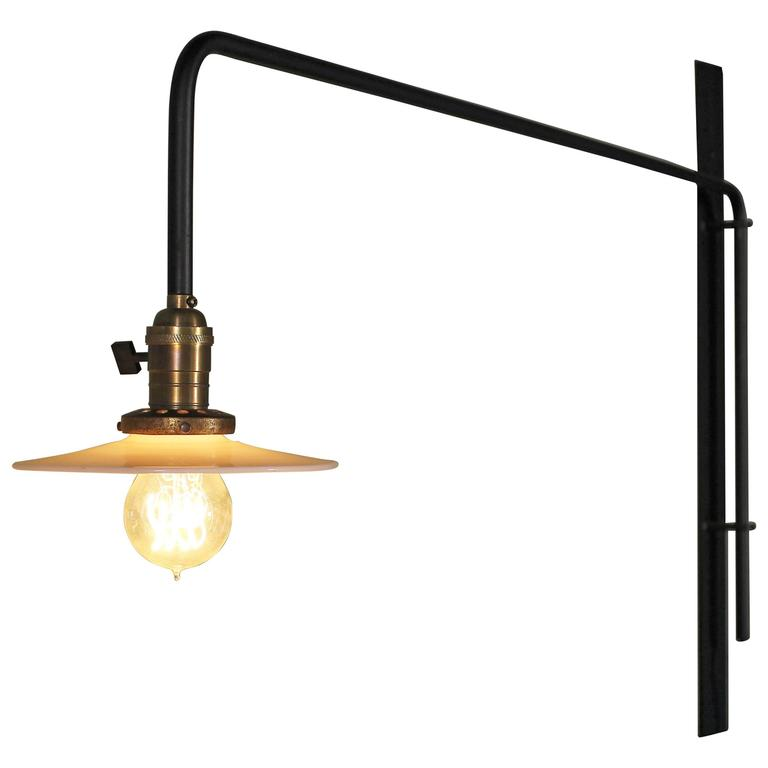 Wall Sconce Lamp Light Swing Out Steel Milk Glass Shade with Edison Bulb For Sale