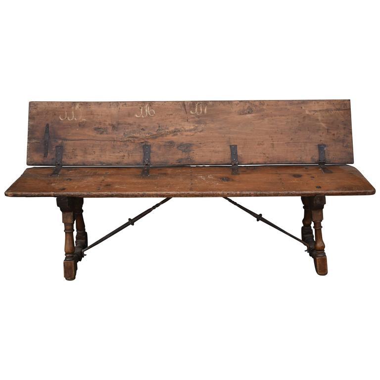 Late 17-Early 18th Century Italian Folding Walnut Bench with Iron Stretcher